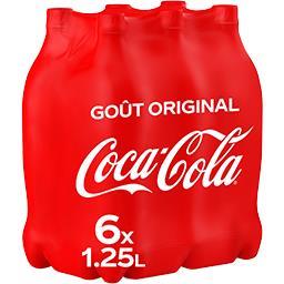 Coca Cola Coca-Cola Soda au cola goût original les 6 bouteilles de 1,25 l