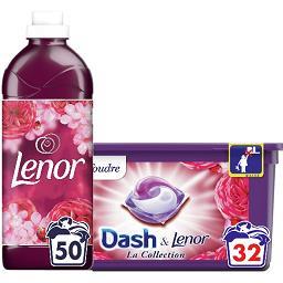 Dash DASH LENOR Lessive coup de foudre, la boîte de 32 et Adoucissant coup de foudre divin la bouteille de 1.15l Le lot
