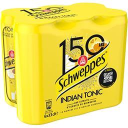 Schweppes Schweppes Indian Tonic - Soda aux extraits d'écorces de quinquina les 6 canettes de 33cl