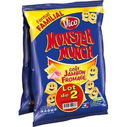 Monster Munch Vico Monster Munch - Biscuits apéritif goût jambon fromage le lot de 2 sachets de 135 g - Format Familial
