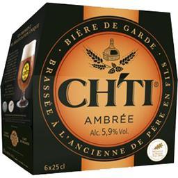 Ch'ti Ch'ti Bière de garde ambrée brassée à l'ancienne les 6 bouteilles de 25 cl