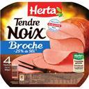 Herta Tendre Noix - Jambon à la broche réduit en sel la barquette de 4 tranches - 160 g