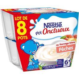 Nestlé Nestlé Bébé P'tit Onctueux - Fromage blanc pêche, 6+ mois les 8 pots de 100 g