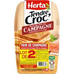 Herta Tendre Croc' - Croque-monsieur pain de campagne jamb...