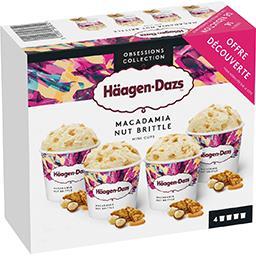 Häagen-Dazs Haagen-Dazs Mini pot crème glacée vanille noix de macadamia caramélisées les 4 pots de 81 g