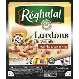 Réghalal Lardons de volaille fumés au bois de hêtre halal les 2 barquettes de 75 g