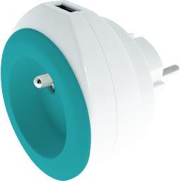 Chargeur USB 2,4 A + 16 A + câble coloris blanc/turquoise