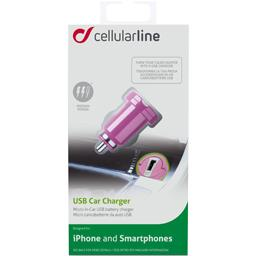 Micro chargeur allume cigare USB 1A rose