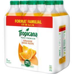 Tropicana Pure Premium - Jus d'orange sans pulpe les 6 bouteilles de 1,5 l