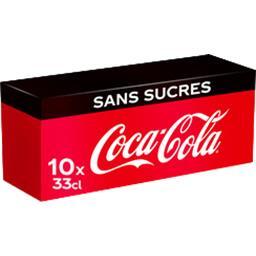 Coca Cola Coca-Cola Zero - Soda au cola sans sucres les 10 boites de 330 ml