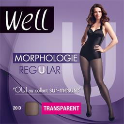 Morphologie - Collant Regular transparent T+1 M 65 noir