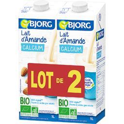 Lait d'amande calcium BIO,BJORG,les 2 briques de 1 l