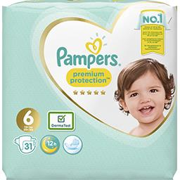 Pampers Couches Premium Protection, taille 6 : 15 + kg le paquet de 31 couches
