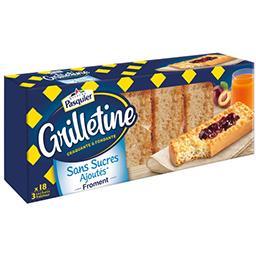 Pasquier Brioche Pasquier Les Grilletines - Tartines grillées froment sans sucres ajoutés la boite de 255 g