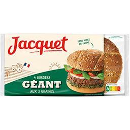 Jacquet Jacquet Pain Burger Géant aux 3 graines le paquet de 4 - 330 g