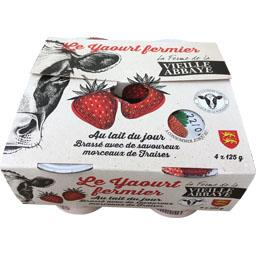 Le Yaourt fermier brassé avec morceaux de fraises