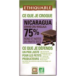 Ethiquable Ethiquable Chocolat noir 75% Nicaragua BIO la tablette de 100 g