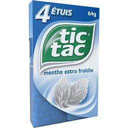Tic Tac Tic Tac Pastilles menthe extra fraîche les 4 étuis de 16 g