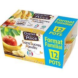 Charles & Alice Sans Sucres Ajoutés - Spécialité pommes bananes vani...