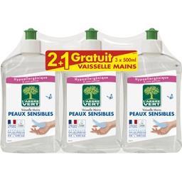 L'Arbre Vert Liquide vaisselle mains peaux sensibles les 2 flacons de 500 ml