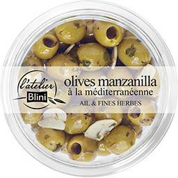 Blini L'Atelier Blini Olives manzanilla à la méditerranéenne la barquette de 150 g