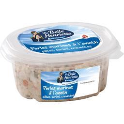 Perles marinés à l'aneth pâtes, surimi, crevettes