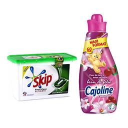 Skip lessive Fresh Clean Ultimate + Cajoline Création fleur de tiaré et baies sauvage