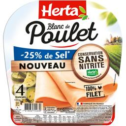 Herta Herta Blanc de poulet réduit en sel la barquette de 4 tranches - 120 g