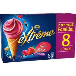 Nestlé Extrême Cône sorbet fruits rouges la boite de 8 - 568 g