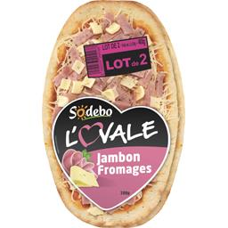 pizza l'ovale jambon/fromage sodebo 2x200g
