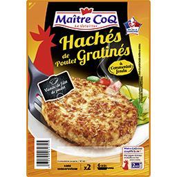 Maître Coq Maitre Coq Haches de poulet gratines a l'emmental la Barquette x2 soit 180 gr