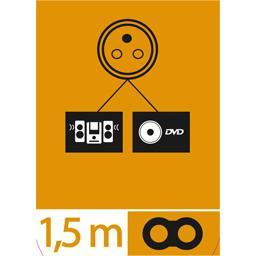 Cordon alimentation secteur 2 pôles 16 mm, 1,5 m