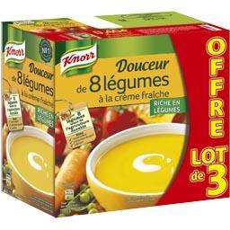 Knorr Soupe Douceur de 8 légumes à la crème fraîche les 3 briques de 1 l