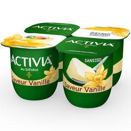Danone Danone Activia - Lait fermenté au bifidus saveur vanille les 4 pots de 125 g