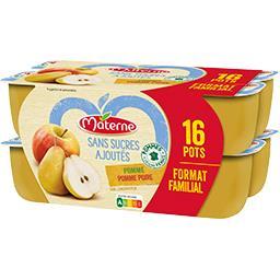 Materne Sans Sucres Ajoutés - Spécialité pomme pomme-poire les 16 pots de 100 g - Format familial