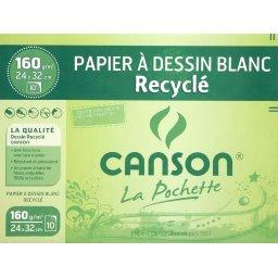Canson Canson Papier dessin blanc recyclé - 24x32cm - 160g/m², la Pochette la pochette de 10