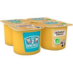 Les 2 vaches Les 2 Vaches Crème dessert vanille BIO les 4 pots de 95 g