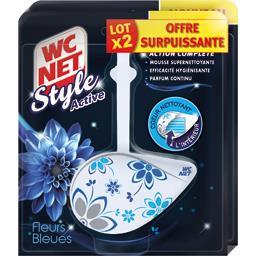 WC Net Style Active - Bloc WC action complète fleurs bleues le lot de 2 blocs de 36,5 g