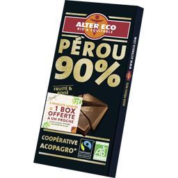 Alter Eco Alter Eco Chocolat noir 90% cacao bio la tablette de 100 g