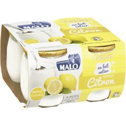 Malo Malo Yaourt au lait entier saveur citron les 4 pots de 125 g