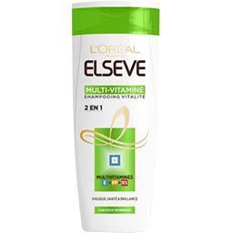L'Oréal Elsève Shampooing 2en1 Multi-vitaminé, cheveux normaux le flacon de 250 ml