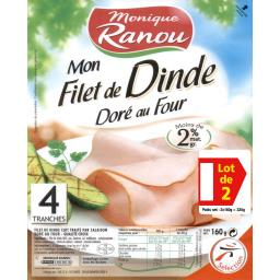 Monique Ranou Mon Filet de Dinde doré au four le barquettes de 4 tranches - 320 g