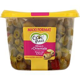 Croc' frais Croc'frais Olives à l'orientale dénoyautées relevées la barquette de 500 g - Maxi Format