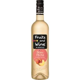 Moncigale Pêche Fruits and Wine Boisson Aromatisée à base de vin Blanc la bouteille de 75 cl