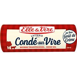 Elle & Vire Elle & Vire Beurre de la laiterie de Condé sur Vire demi-sel la plaquette de 250 g