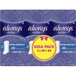 Always Protège-slips Large Dailies Extra Protect le lot de 3 pack de 28