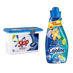 Skip lessive Active clean + Cajoline concentré brun de folie