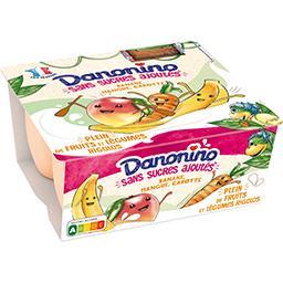 Danone Danonino Spécialité laitière banane mangue carotte s/ sucres ajoutés les 4 pots de 90 g