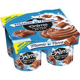 Mamie Nova Crème gourmande chocolat au lait les 4 pots de 150 g