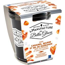 Crème glacée caramel beurre et sel de Guérande avec morceaux